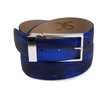 Blue polished leather belt with silver buckle