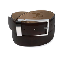 Coffee polished leather belt with silver buckle