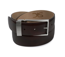 Coffee polished leather belt with opaque buckle