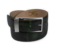 Green polished leather belt with opaque buckle