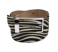 Zebra hairy leather belt with silver buckle