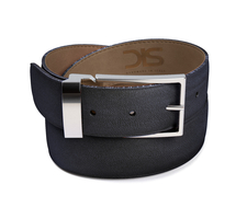 Blue grain leather belt with silver buckle