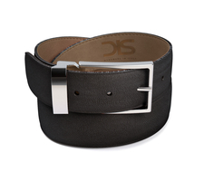Black grain leather belt with silver buckle