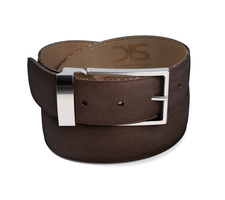 Coffee grain leather belt with silver buckle