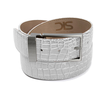 White crocodile leather belt with opaque buckle