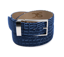 Blue crocodile leather belt with silver buckle