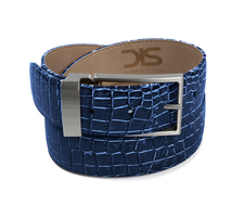 Blue crocodile leather belt with opaque buckle