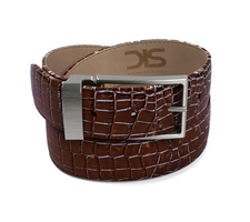Dark brown crocodile leather belt with opaque buckle