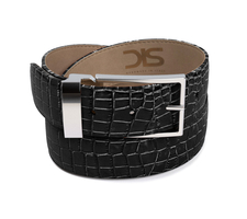 Black crocodile leather belt with silver buckle