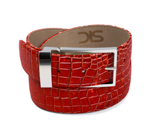Red crocodile leather belt with silver buckle