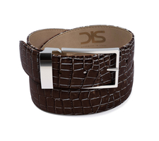 Coffee crocodile leather belt with silver buckle