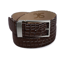 Coffee crocodile leather belt with opaque buckle