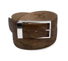 Olive deco leather belt with silver buckle
