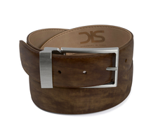 Olive deco leather belt with opaque buckle