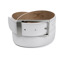 White shiny leather belt with opaque buckle