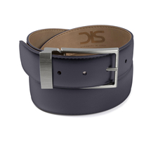 Navy shiny leather belt with opaque buckle