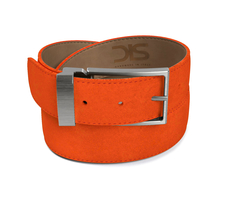 Orange suede leather belt with opaque buckle