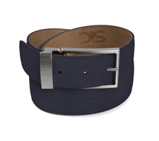 Navy suede leather belt with opaque buckle