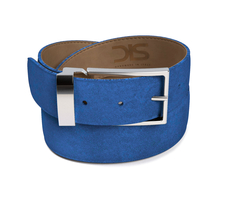 Indingo suede leather belt with silver buckle