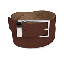Dark brown suede leather belt with silver buckle