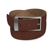 Dark brown suede leather belt with opaque buckle