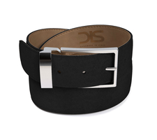 Black suede leather belt with silver buckle