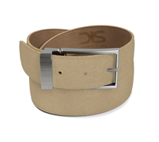Sand suede leather belt with opaque buckle
