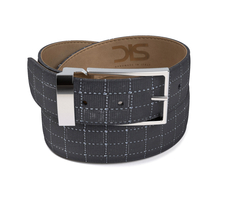 Pattern ninja glass black leather belt with silver buckle