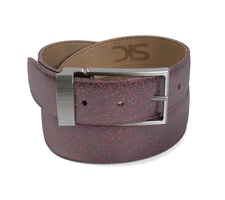 Pattern stardust fuxia leather belt with opaque buckle