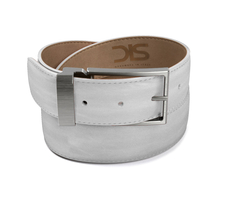 White calf leather belt with opaque buckle