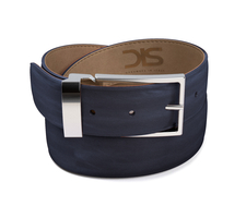 Navy calf leather belt with silver buckle