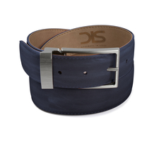 Navy calf leather belt with opaque buckle