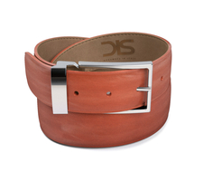 Tan calf leather belt with silver buckle