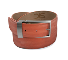 Tan calf leather belt with opaque buckle