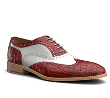 fred - red crocodile leather men oxford wing brogue