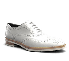 da vinci - white calf leather men oxford wing brogue