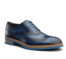 da vinci - blue polished leather men oxford wing brogue