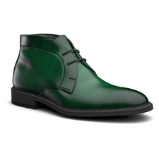 marco polo - green polished leather men desert boot