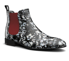roberto - silver spray pattern leather men chelsea boot