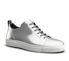 pietro - low top sneakers shiny laminated silver leather