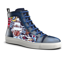 gianmarco - hand painted hi top leather sneakers water pattern