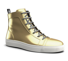 gianmarco - high top sneakers shiny laminated gold leather