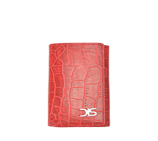 Red crocodile pattern leather wallet