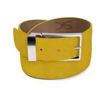 Sun suede leather belt with silver buckle