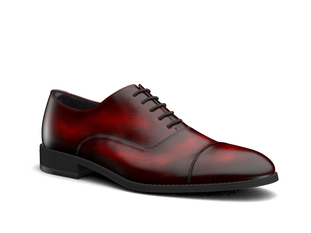burgundy polished leather men oxford toe cap