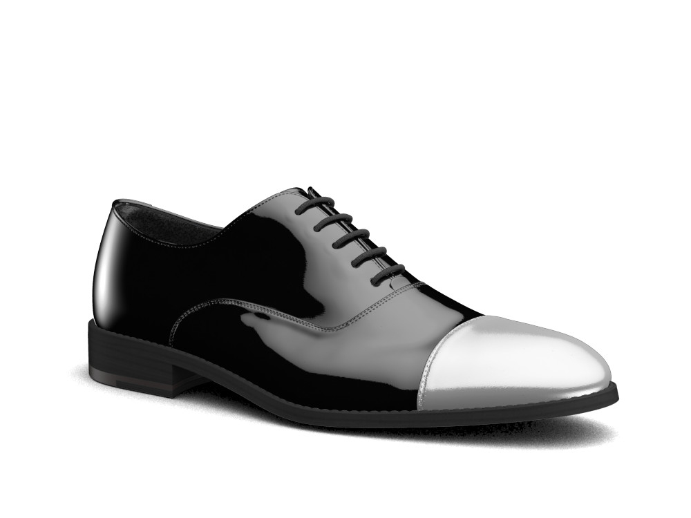 black patent leather men oxford toe cap