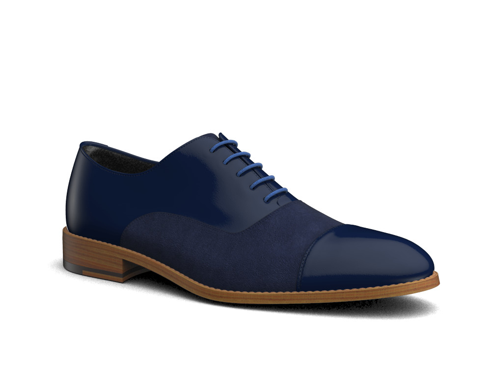 navy suede calf leather men oxford toe cap