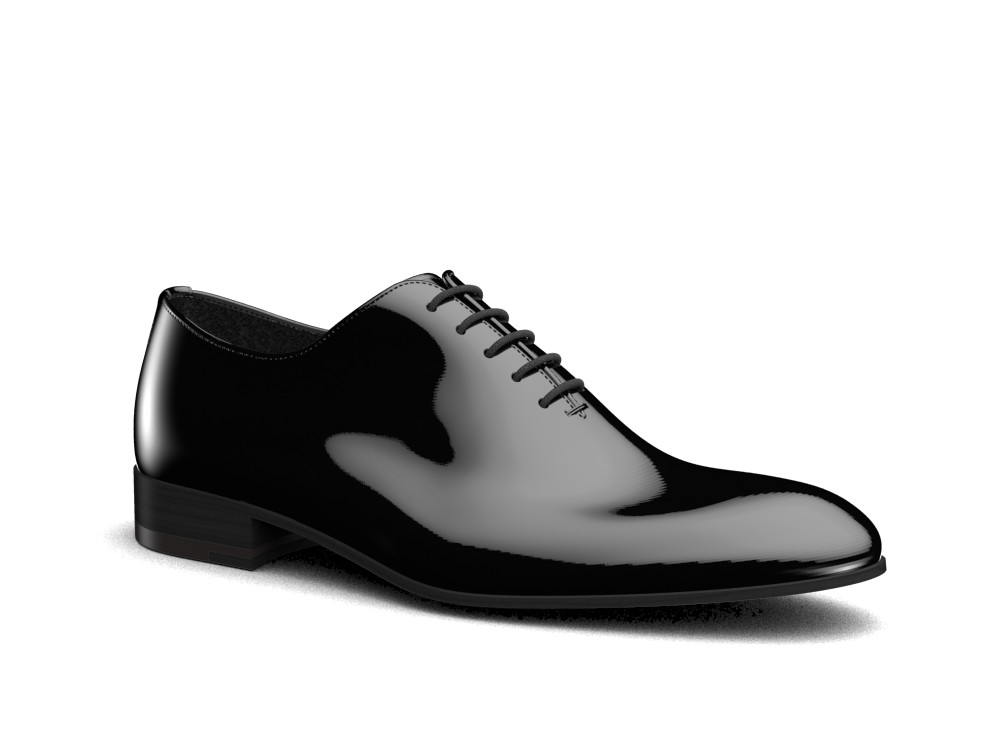 black patent leather men oxford plain