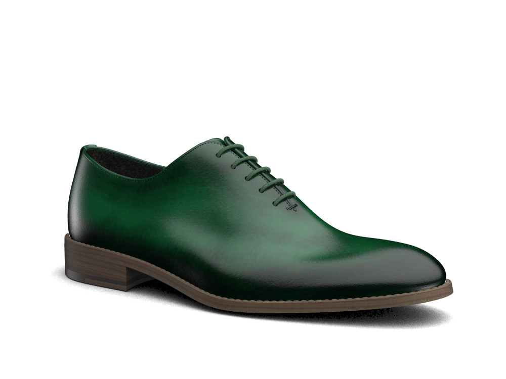 green polished leather men oxford plain