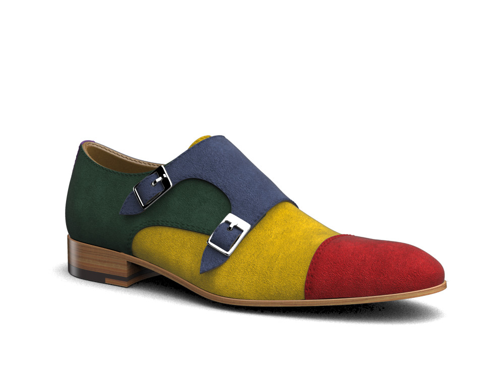 multicolor suede leather men double monk